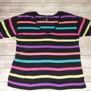 Lane Bryant 18/20 Color Stripe Roll Cuff Sweater